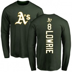 Men's Jed Lowrie Oakland Athletics Backer Long Sleeve T-Shirt - Green