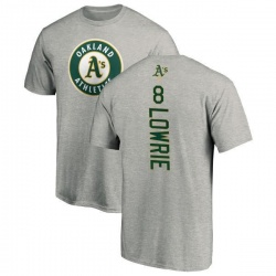 Men's Jed Lowrie Oakland Athletics Backer T-Shirt - Ash