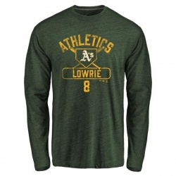 Men's Jed Lowrie Oakland Athletics Base Runner Tri-Blend Long Sleeve T-Shirt - Green