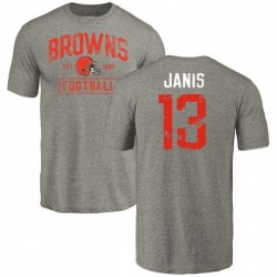 Men's Jeff Janis Cleveland Browns Gray Distressed Name & Number Tri-Blend T-Shirt