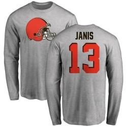 Men's Jeff Janis Cleveland Browns Name & Number Logo Long Sleeve T-Shirt - Ash