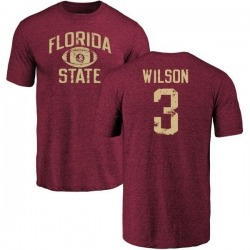 Men's Jesus Wilson Florida State Seminoles Distressed Football Tri-Blend T-Shirt - Garnet