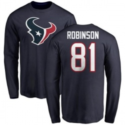 Men's Jevoni Robinson Houston Texans Name & Number Logo Long Sleeve T-Shirt - Navy