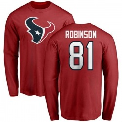 Men's Jevoni Robinson Houston Texans Name & Number Logo Long Sleeve T-Shirt - Red