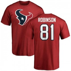 Men's Jevoni Robinson Houston Texans Name & Number Logo T-Shirt - Red