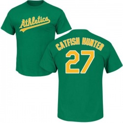 Men's Jim Catfish Hunter Oakland Athletics Roster Name & Number T-Shirt - Green