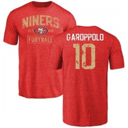 Men's Jimmy Garoppolo San Francisco 49ers Distressed Name & Number Tri-Blend T-Shirt - Red