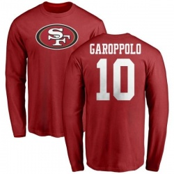 Men's Jimmy Garoppolo San Francisco 49ers Name & Number Logo Long Sleeve T-Shirt - Red