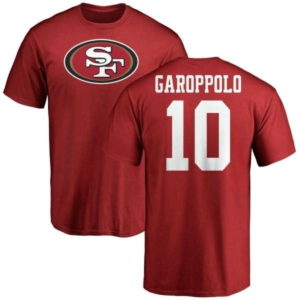 more photos 3f6f1 da2fc Men's Jimmy Garoppolo San Francisco 49ers Name & Number Logo T-Shirt - Red  - Teams Tee