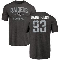 Men's Joby Saint Fleur Oakland Raiders Black Distressed Name & Number Tri-Blend T-Shirt