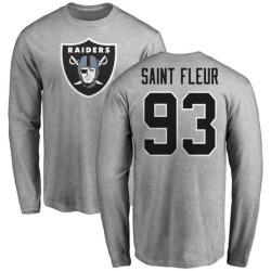 Men's Joby Saint Fleur Oakland Raiders Name & Number Logo Long Sleeve T-Shirt - Ash