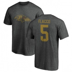 Men's Joe Flacco Baltimore Ravens One Color T-Shirt - Ash