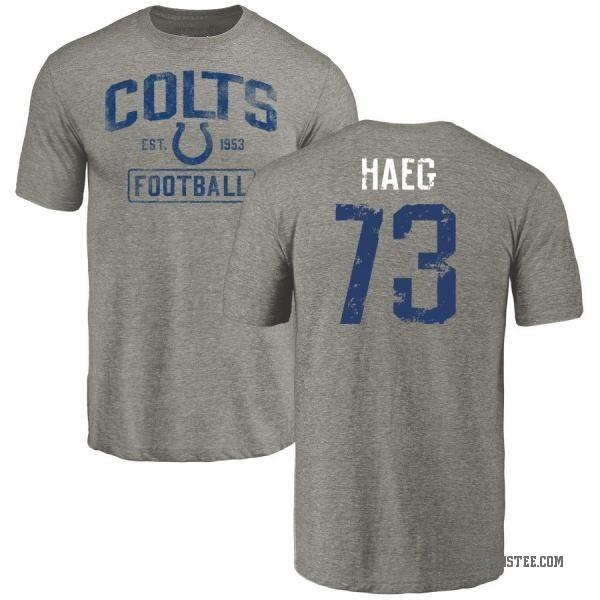 save off cb7ee d4f9b Men's Joe Haeg Indianapolis Colts Gray Distressed Name & Number Tri-Blend  T-Shirt - Teams Tee