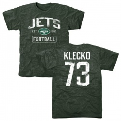 Men's Joe Klecko New York Jets Green Distressed Name & Number Tri-Blend T-Shirt