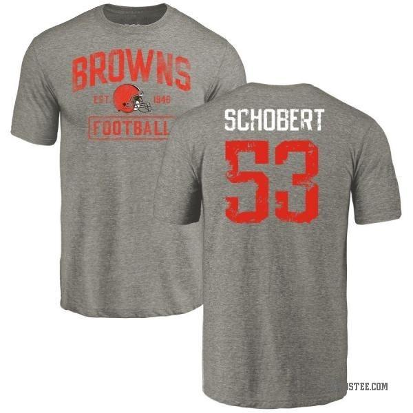 Men's Joe Schobert Cleveland Browns Gray Distressed Name & Number Tri-Blend T-Shirt