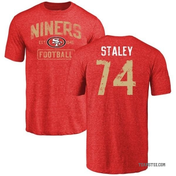 promo code ed994 e9f34 Men's Joe Staley San Francisco 49ers Distressed Name & Number Tri-Blend  T-Shirt - Red - Teams Tee