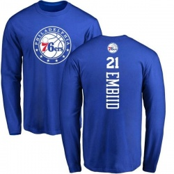 Men's Joel Embiid Philadelphia 76ers Royal Backer Long Sleeve T-Shirt
