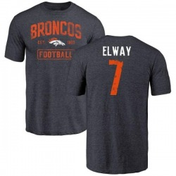 Men's John Elway Denver Broncos Navy Distressed Name & Number Tri-Blend T-Shirt