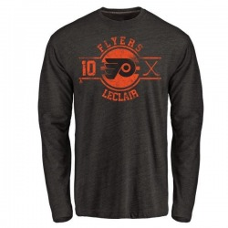 Men's John Leclair Philadelphia Flyers Insignia Tri-Blend Long Sleeve T-Shirt - Black