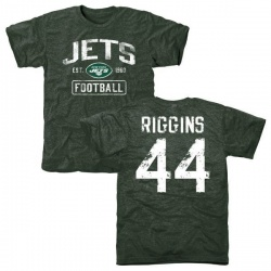 Men's John Riggins New York Jets Green Distressed Name & Number Tri-Blend T-Shirt