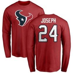Men's Johnathan Joseph Houston Texans Name & Number Logo Long Sleeve T-Shirt - Red