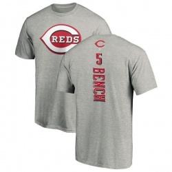 Men's Johnny Bench Cincinnati Reds Backer T-Shirt - Ash