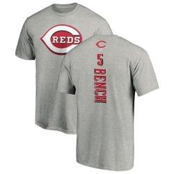 Men's Johnny Bench Cincinnati Reds Backer T-Shirt - Ash