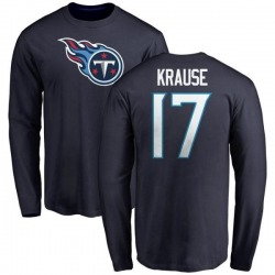 Men's Jonathan Krause Tennessee Titans Name & Number Logo Long Sleeve T-Shirt - Navy
