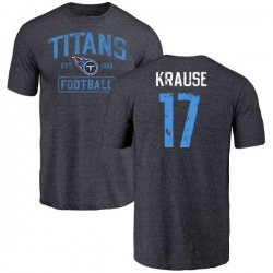 Men's Jonathan Krause Tennessee Titans Navy Distressed Name & Number Tri-Blend T-Shirt
