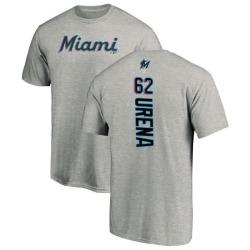 Men's Jose Urena Miami Marlins Backer T-Shirt - Ash