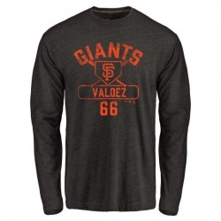 Men's Jose Valdez San Francisco Giants Base Runner Tri-Blend Long Sleeve T-Shirt - Black