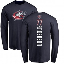 Men's Josh Anderson Columbus Blue Jackets Backer Long Sleeve T-Shirt - Navy