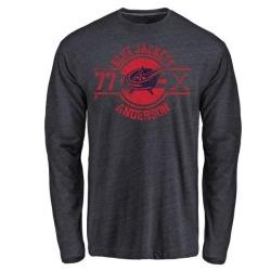 Men's Josh Anderson Columbus Blue Jackets Insignia Tri-Blend Long Sleeve T-Shirt - Navy