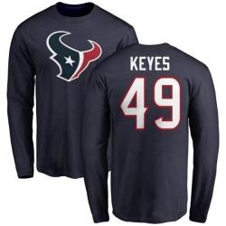 Men's Josh Keyes Houston Texans Name & Number Logo Long Sleeve T-Shirt - Navy
