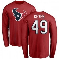 Men's Josh Keyes Houston Texans Name & Number Logo Long Sleeve T-Shirt - Red