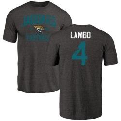 Men's Josh Lambo Jacksonville Jaguars Black Distressed Name & Number Tri-Blend T-Shirt