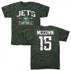 Men's Josh McCown New York Jets Green Distressed Name & Number Tri-Blend T-Shirt