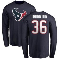 Men's Josh Thornton Houston Texans Name & Number Logo Long Sleeve T-Shirt - Navy
