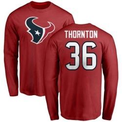Men's Josh Thornton Houston Texans Name & Number Logo Long Sleeve T-Shirt - Red