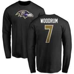 Men's Josh Woodrum Baltimore Ravens Name & Number Logo Long Sleeve T-Shirt - Black