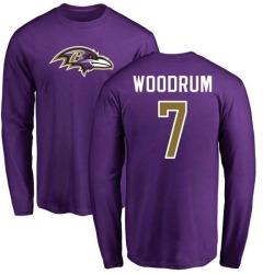 Men's Josh Woodrum Baltimore Ravens Name & Number Logo Long Sleeve T-Shirt - Purple