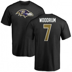 Men's Josh Woodrum Baltimore Ravens Name & Number Logo T-Shirt - Black