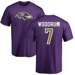 Men's Josh Woodrum Baltimore Ravens Name & Number Logo T-Shirt - Purple