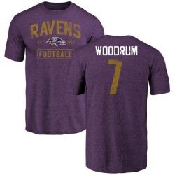 Men's Josh Woodrum Baltimore Ravens Purple Distressed Name & Number Tri-Blend T-Shirt