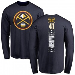 Men's Juan Hernangomez Denver Nuggets Navy Backer Long Sleeve T-Shirt