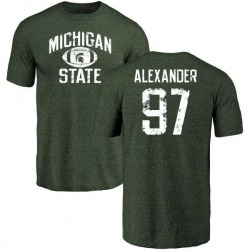 Men's Justice Alexander Michigan State Spartans Distressed Football Tri-Blend T-Shirt - Green