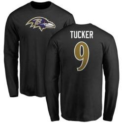 Men's Justin Tucker Baltimore Ravens Name & Number Logo Long Sleeve T-Shirt - Black