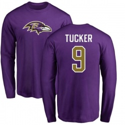 Men's Justin Tucker Baltimore Ravens Name & Number Logo Long Sleeve T-Shirt - Purple