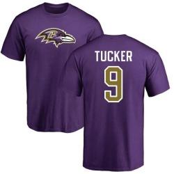 Men's Justin Tucker Baltimore Ravens Name & Number Logo T-Shirt - Purple
