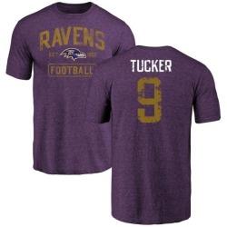 Men's Justin Tucker Baltimore Ravens Purple Distressed Name & Number Tri-Blend T-Shirt